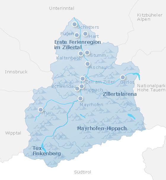 Karte Zillertal