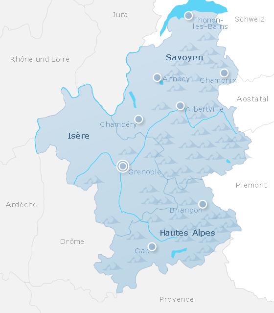 Karte Französische Alpen