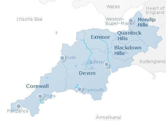 Karte Südwest-England