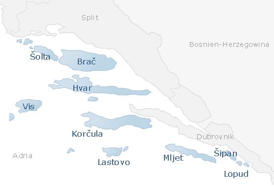 Karte Südliche Adria