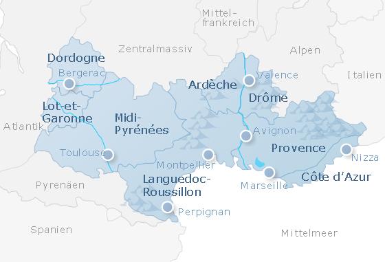 Karte Südfrankreich