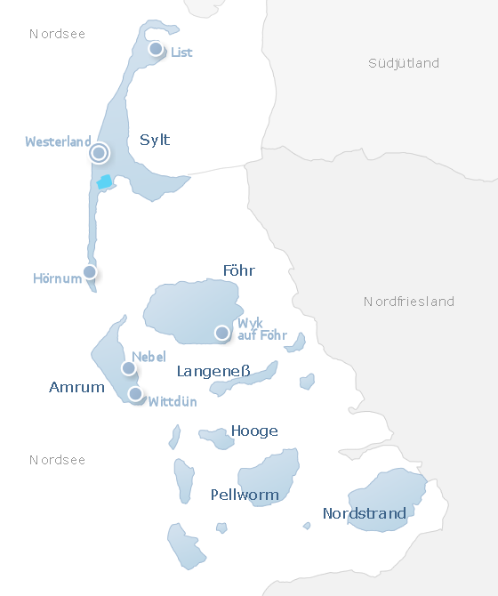 Map North Frisian Islands