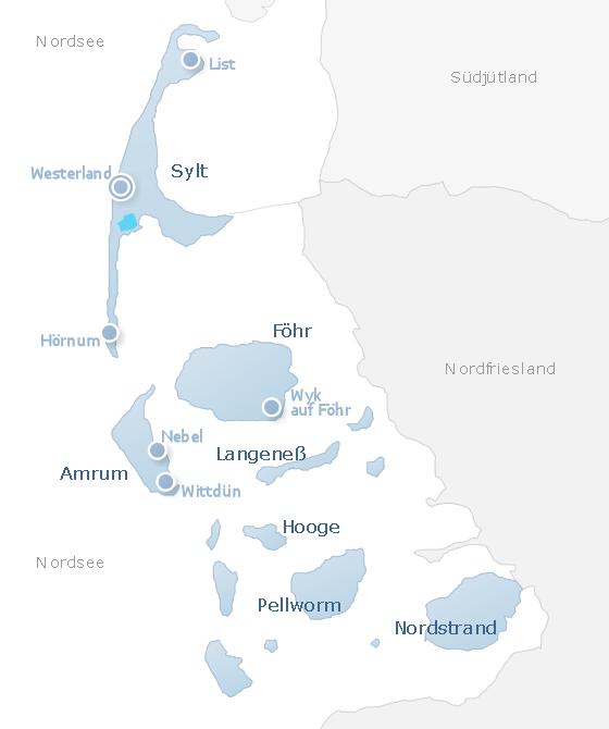 Karte North Frisian Islands