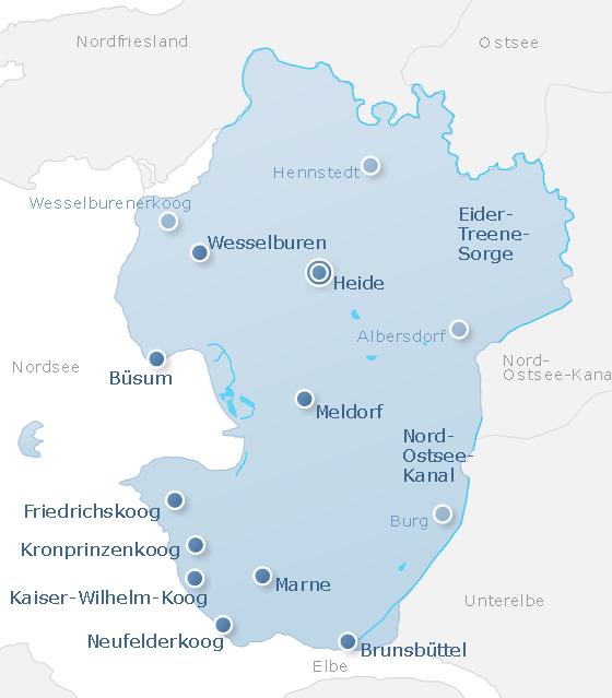 Karte Dithmarschen