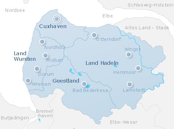 Karte Cuxhaven & Umgebung