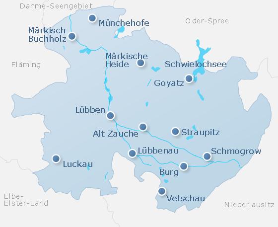 Karte Spreewald