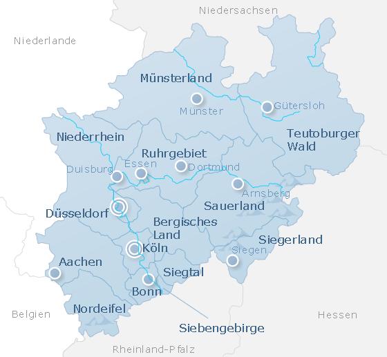 Map North Rhine-Westphalia