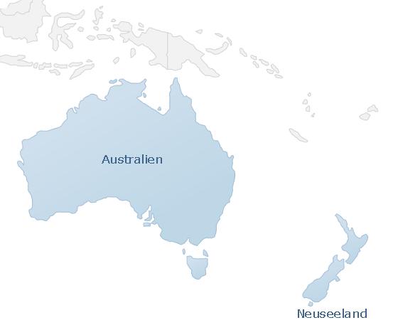 Karte Australien & Ozeanien