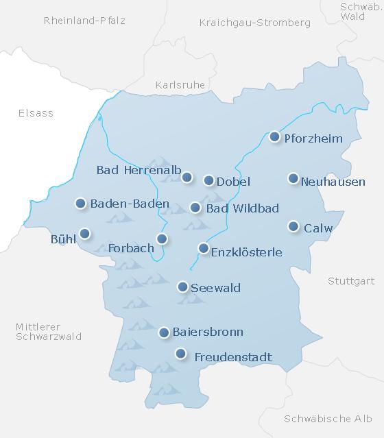 Karte Nordschwarzwald