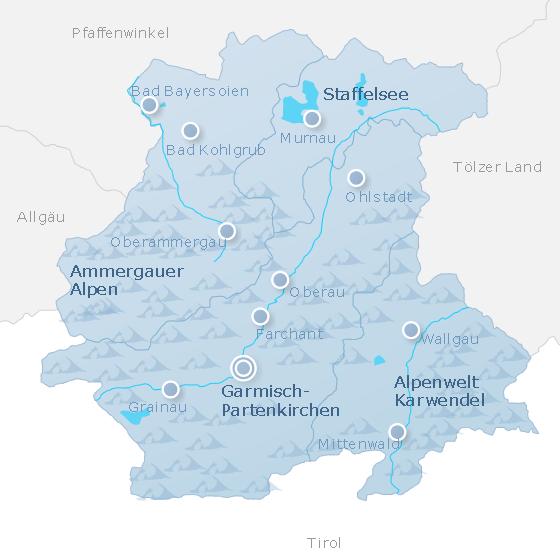 Karte Zugspitz-Region