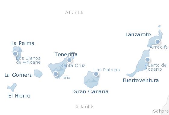 Karte Kanarischen Inseln