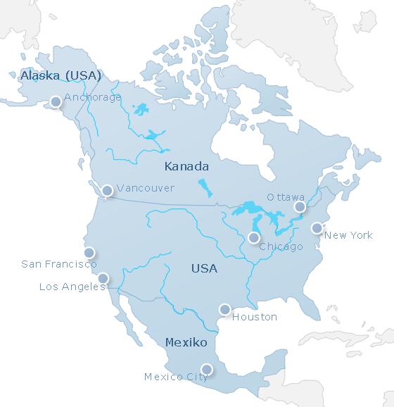 Karte Nordamerika