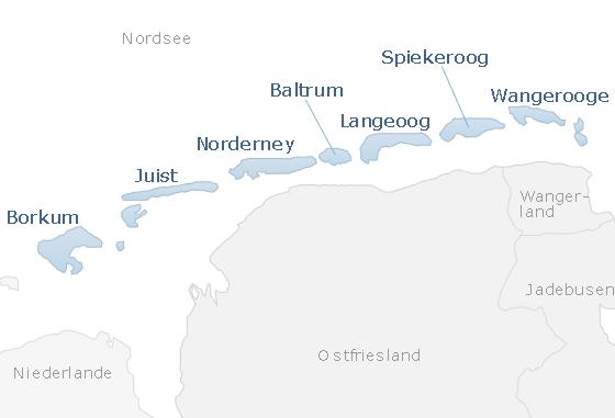 Karte Ostfriesische Inseln